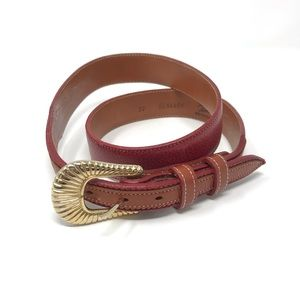 Tony Lama Red Leather Belt Western Tan Gold Buckle